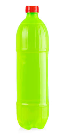 green plastic bottle with red cap isolated on white background