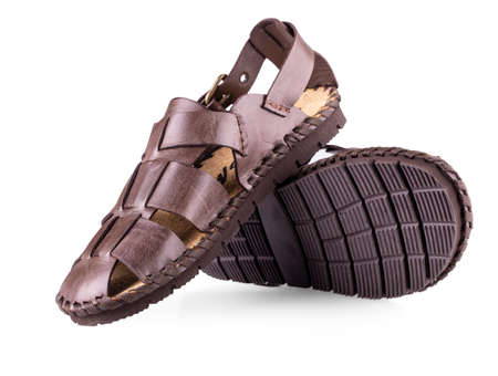 The leather brown men's sandals on white