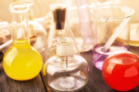 Scientific laboratory glassware. Close up.