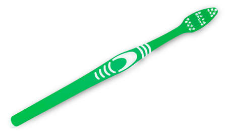 Green  toothbrush isolated on white top view