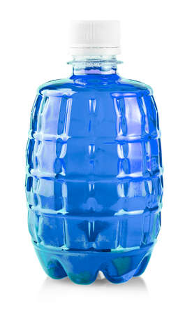 Blue water in plastic bottle on white background