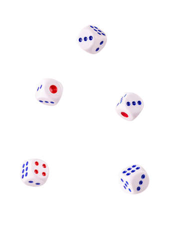A pair of dices floating on white background