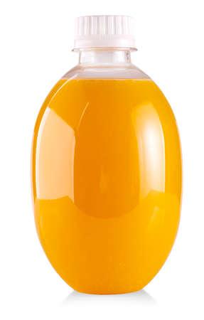 Plastic bottle of orange juice isolated on white background Imagens