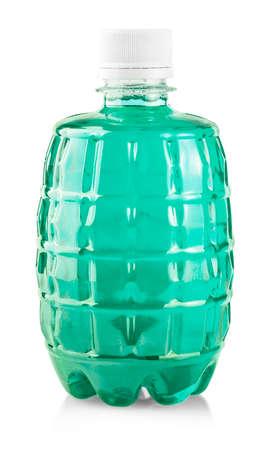 Green water in plastic bottle on white background Imagens