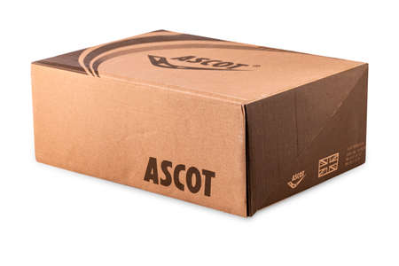 Kamchatka, Russia - 22 Jule 2019: Ascot shoe box isolated on white background. ASCOT INTERNATIONAL LTD. Was founded in 1972 in the UK.