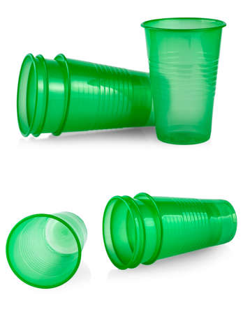 Green plastic cup isolated on a white background