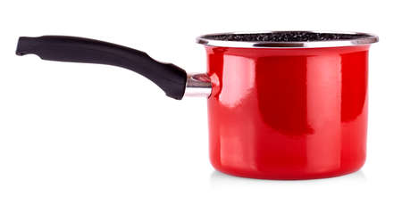 the red pot with black pen isolated on white