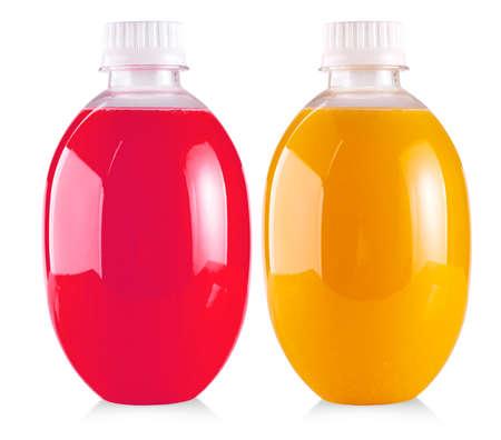 Plastic bottle of  juice isolated on white background