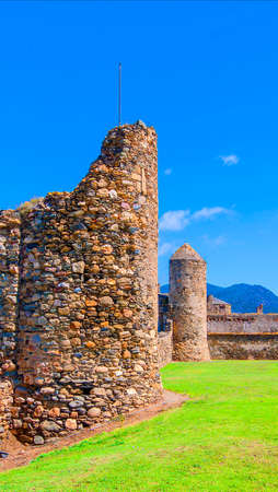 view of the medieval fortress in Roses, Catalonia, northern Spain