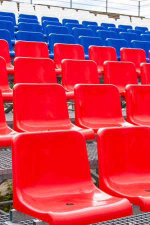 The Empty Plastic Chairs at the Stadium Imagens