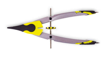 Colorful pair of compasses on white background.