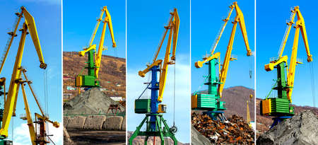Set of crane at the scrapyard in the seaport in Kamchatka Stock Photo