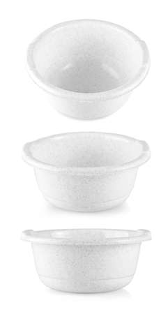 White plastic bowl isolated on white background. Soup cup with water inside