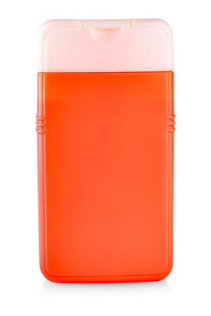 Red Plastic Bottle with Shampoo or hygienic cosmetic product isolated on white Stock Photo