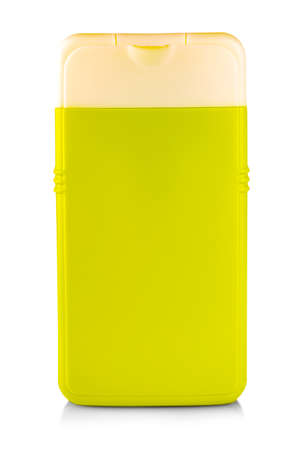 Green Plastic Bottle with Shampoo or hygienic cosmetic product isolated on white Stock Photo