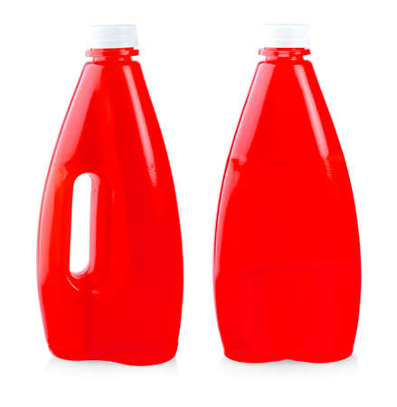 Red  juice in plastic bottle isolated on white background Banco de Imagens