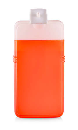 Red Plastic Bottle with Shampoo or hygienic cosmetic product isolated on white Banco de Imagens