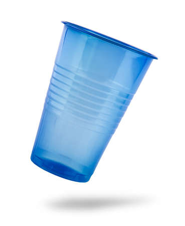 Blue plastic cup isolated on a white background Banco de Imagens