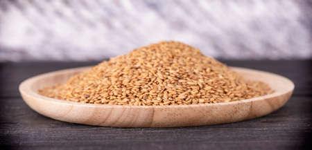 Sesame close up shot  on wood background
