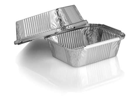 square aluminium foil baking cups on white background