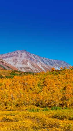 Vachkazhets volcano crater  on Kamchatka in autemn