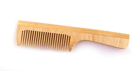 wooden comb for hair on a white background