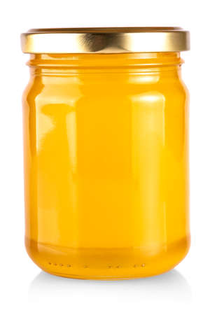 The yellow honey bank isolated on white background Banco de Imagens