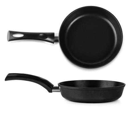 The new black fry pan over white background