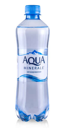 kamchatka, Russia 23 August 2019. Aqua minerale, mineral water isolated on white background