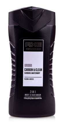 Kamchatka, Russia- Aug 25, 2019: The Axe shower gel on a black background