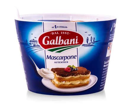 Russia, kamchatka- Sep 4, 2019: Mascarpone package isolated on white background