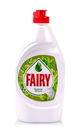 kamchatka, Russia - Oct 01, 2019: Fairy dish washing liquid. Fairy is a brand of washing-up liquid produced by Procter and Gamble.