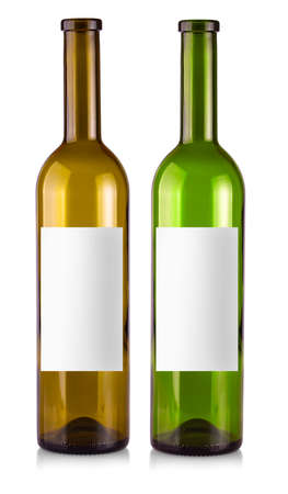 empty bottle of wine isolated on a white background