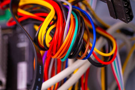 Closeup of cable and wire in computer network systems Stok Fotoğraf - 131839862