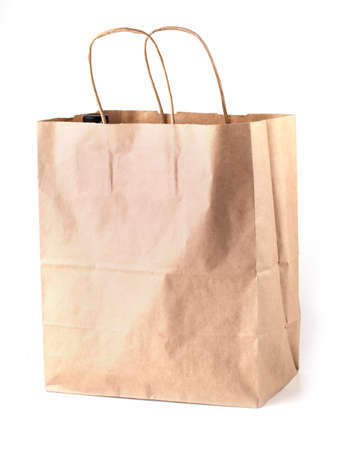 the blank  paper bag on white background