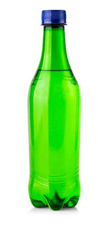 The green plastic bottle with drops isolated on white Stok Fotoğraf - 132272379