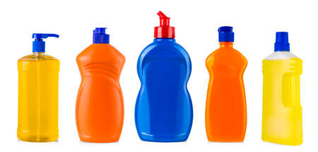The new colored kitchen cleaning bottles isolated Stok Fotoğraf - 132304290