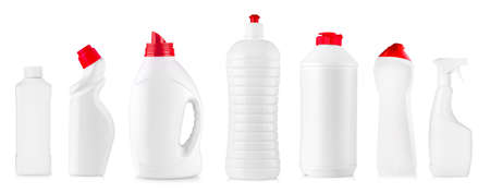 The new white kitchen cleaning bottles isolated Stok Fotoğraf - 132303760
