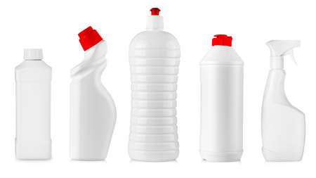 The set of white kitchen cleaning bottles isolated Stok Fotoğraf - 132303465