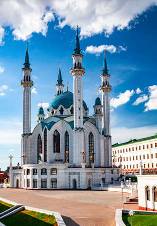 The Kol Sharif Mosque located in Kazan Kremlin, Kazan, The Republic of Tatarstan in Russia. One of the largest mosques in Russia. Kazan city panoramic view.