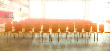 The Conference room with chairs, concrete floor and windows Stok Fotoğraf