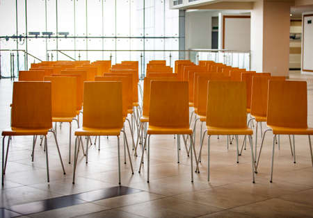 The Conference room with chairs, concrete floor and windows Stok Fotoğraf - 132617385