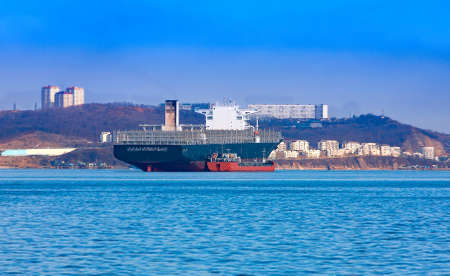 Empty container freighter ship waiting on Vladivostok, Russia