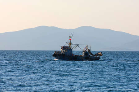 Small commercial net fishing boat near Vladivostok Stok Fotoğraf