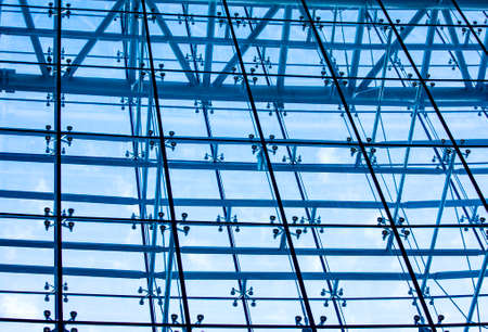 The underside panoramic and perspective view to steel blue glass Stok Fotoğraf