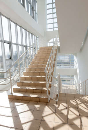 The staircase - emergency exit in hotel, close-up staircase, interior staircases, interior staircases hotel, Staircase in modern house, staircase in modern building Stok Fotoğraf
