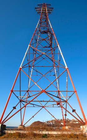 The old High-voltage rack or high-voltage tower.