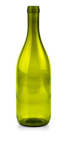 The close up of a green wine bottle on white background with clipping path Stok Fotoğraf