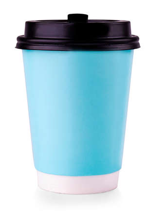 The Blue Paper Cup With Black Lid Isolated on White Background. Stok Fotoğraf