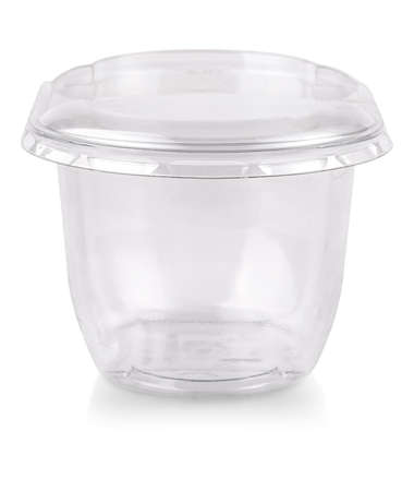 The plastic transparent jar with a lid isolated